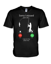 I Was On My Other Line V-Neck T-Shirt thumbnail