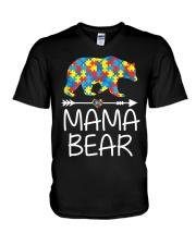 Autism Mama Bear design V-Neck T-Shirt thumbnail