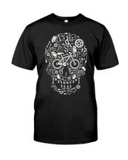 Cycling skull cool design Classic T-Shirt front