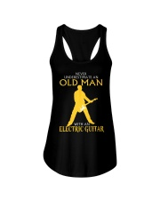 Never underestimate old man with electric guitar Ladies Flowy Tank thumbnail