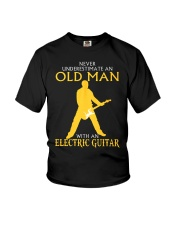 Never underestimate old man with electric guitar Youth T-Shirt thumbnail