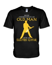 Never underestimate old man with electric guitar V-Neck T-Shirt thumbnail