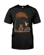 Autumn dog on bicycle beautiful design Classic T-Shirt front