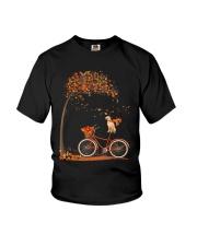 Autumn dog on bicycle beautiful design Youth T-Shirt thumbnail