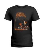Autumn dog on bicycle beautiful design Ladies T-Shirt thumbnail