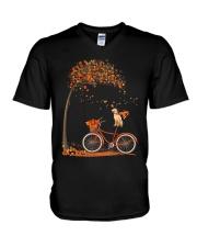 Autumn dog on bicycle beautiful design V-Neck T-Shirt thumbnail