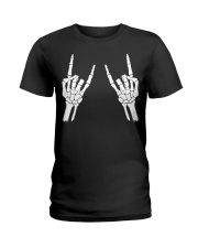 Rock n roll skeleton hand cool design for you Ladies T-Shirt tile