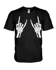 Rock n roll skeleton hand cool design for you V-Neck T-Shirt tile