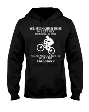 Yes He's Mountain Biking Hooded Sweatshirt thumbnail