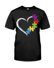 Love Ribbon Heart Autism Classic T-Shirt front