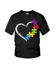 Love Ribbon Heart Autism Youth T-Shirt thumbnail