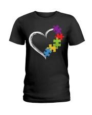 Love Ribbon Heart Autism Ladies T-Shirt thumbnail