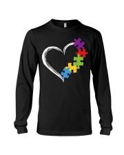 Love Ribbon Heart Autism Long Sleeve Tee thumbnail
