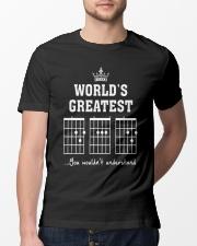 Worlds greatest DAD guitar chords secret message Classic T-Shirt lifestyle-mens-crewneck-front-13