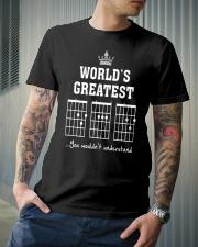 Worlds greatest DAD guitar chords secret message Classic T-Shirt lifestyle-mens-crewneck-front-6