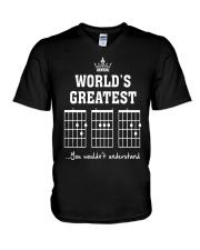 Worlds greatest DAD guitar chords secret message V-Neck T-Shirt thumbnail