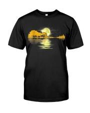Guitar moon lake shadow beautiful design Classic T-Shirt front