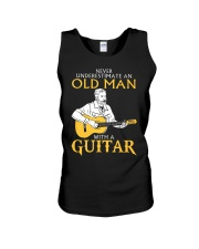 Never underestimate an old man with a guitar Unisex Tank thumbnail