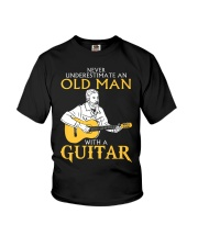 Never underestimate an old man with a guitar Youth T-Shirt thumbnail