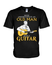 Never underestimate an old man with a guitar V-Neck T-Shirt thumbnail