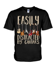 Easily distracted by guitars V-Neck T-Shirt thumbnail