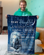 """Dad To Daughter I believe in you Small Fleece Blanket - 30"""" x 40"""" aos-coral-fleece-blanket-30x40-lifestyle-front-09"""