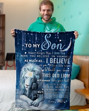 """Dad To Son I believe in you Small Fleece Blanket - 30"""" x 40"""" aos-coral-fleece-blanket-30x40-lifestyle-front-09"""