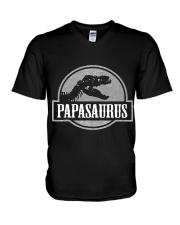 Mens Jurassic Papasaurus Rex Dinosaur Tee For Dad  V-Neck T-Shirt thumbnail