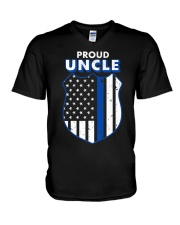 Thin Blue Line Proud Uncle Badge Shirt V-Neck T-Shirt tile