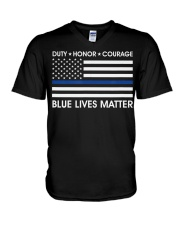 Duty Honor Courage  Blue Lives Matter Polic V-Neck T-Shirt thumbnail