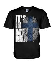 It's In My DNA Finnish Shirt Suomi Finlan V-Neck T-Shirt thumbnail