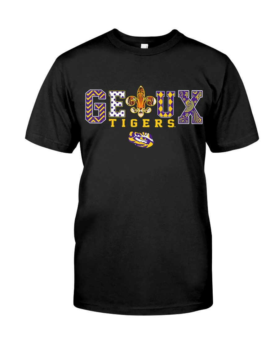 LSU Tigers Team Slogan Pattern Purple and gold Bat Classic T-Shirt