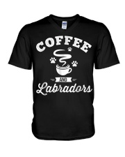 Coffee and Labradors Shirt Lab Lover Owner V-Neck T-Shirt thumbnail
