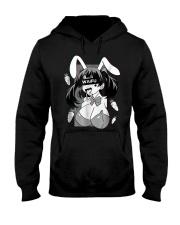 Ahegao t shirt lewd anime shirt and rabbit co Hooded Sweatshirt thumbnail