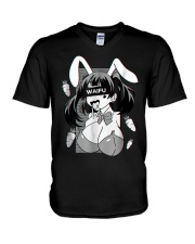 Ahegao t shirt lewd anime shirt and rabbit co V-Neck T-Shirt thumbnail