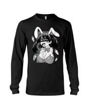Ahegao t shirt lewd anime shirt and rabbit co Long Sleeve Tee thumbnail