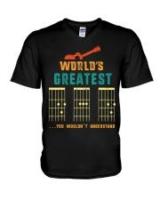 Retro Worlds Greatest Dad Shirt Funny Gui V-Neck T-Shirt thumbnail