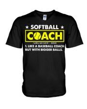 Softball Coach Like Baseball Bigger Balls V-Neck T-Shirt thumbnail