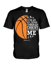 Christian Basketball Shirt I Can Do All Things Phi V-Neck T-Shirt thumbnail