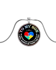 Autism To My Son No Matter What Happen Mom  Metallic Circle Necklace thumbnail