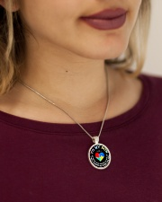 Autism To My Son No Matter What Happen Mom  Metallic Circle Necklace aos-necklace-circle-metallic-lifestyle-1