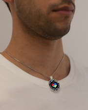 Autism To My Son No Matter What Happen Mom  Metallic Circle Necklace aos-necklace-circle-metallic-lifestyle-2