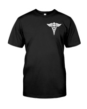 Red headed nurse USA Flag 2 Sides Printed Classic T-Shirt front