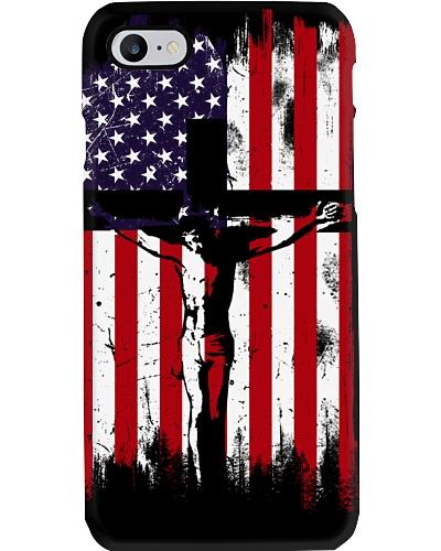 Cross jesus Usa flag phone case