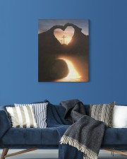 Three crosses Easter morning heart shape 16x20 Gallery Wrapped Canvas Prints aos-canvas-pgw-16x20-lifestyle-front-06