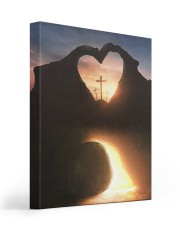 Three crosses Easter morning heart shape 16x20 Gallery Wrapped Canvas Prints front