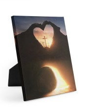 Three crosses Easter morning heart shape 8x10 Easel-Back Gallery Wrapped Canvas thumbnail