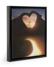 Three crosses Easter morning heart shape Floating Framed Canvas Prints Black tile