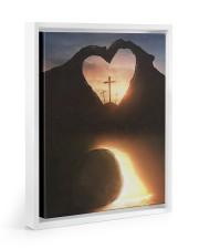 Three crosses Easter morning heart shape 11x14 White Floating Framed Canvas Prints thumbnail