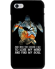 Scuba diving turtle into the ocean art Phone Case thumbnail
